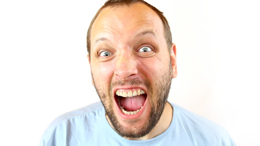 Stock Video Clip of Angry man screaming, isolated on white ...