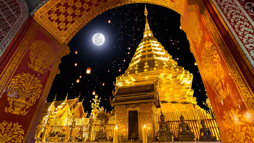 Wat Phra That Doi Suthep And Sky Fire Lantern On Full Moon Background Famous Temple of Chiang Mai, Thailand