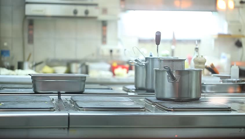 Restaurant Kitchen Video minsk -january,7,2015 chefs preparing food in the kitchen