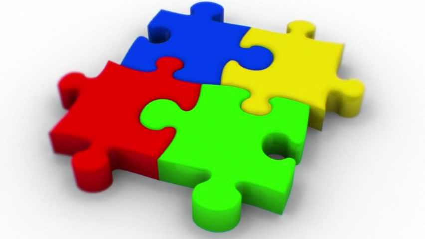 Gathering Animation Of Puzzle Pieces. Stock Footage Video ...