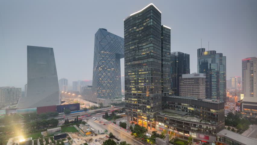 Beijing, China CBD skyline time lapse from day to night.
