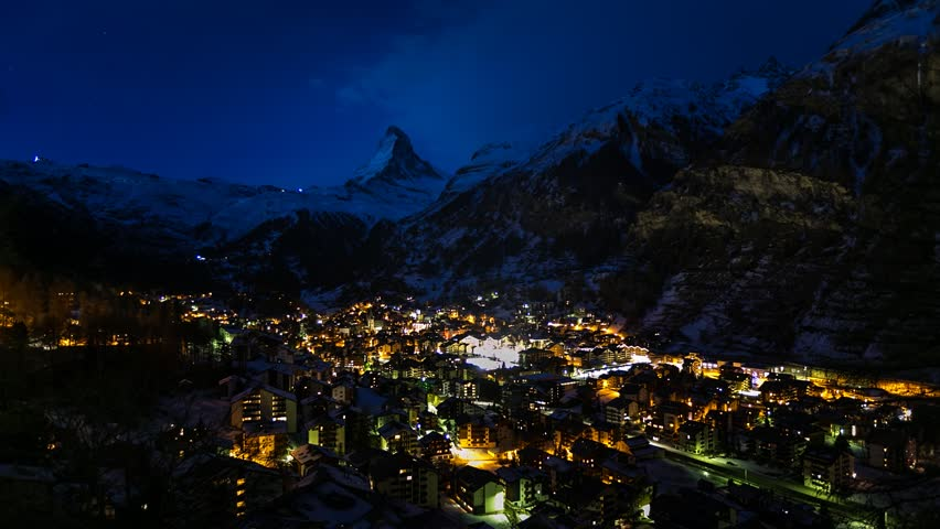 Aerial View on Zermatt Ski Resort and Matternhorn Peak in the Morning, Time-lapse, Zermatt, Switzerland | Shutterstock HD Video #8534860