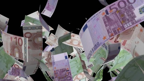 Falling Euro banknotes money Video Effect simulates Falling Mixed Euro banknotes money with alpha channel in 4k resolution