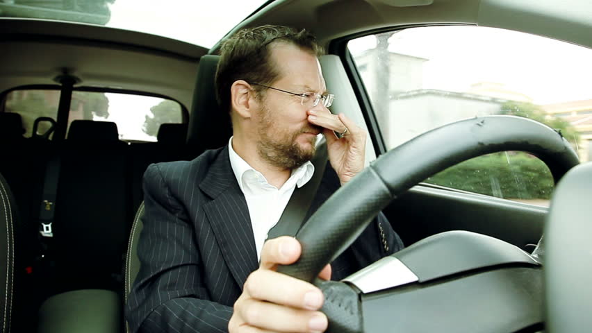 Man driving smelling stinky air funny comedy
