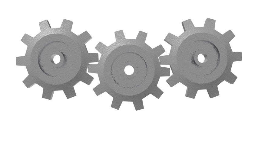 Three rotating 3d gears on a white background.
