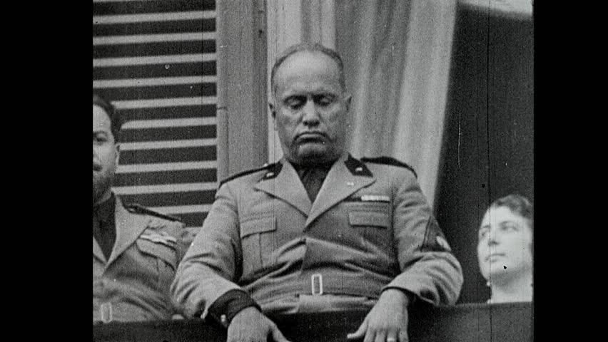 ITALY - CIRCA 1942-1944: World War II, Mussolini Speaks from Balcony to Masses