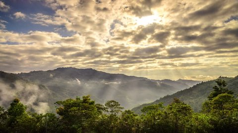 Ray Of Light Penetrating Clouds Over Crocker Range. Sabah, Malaysia