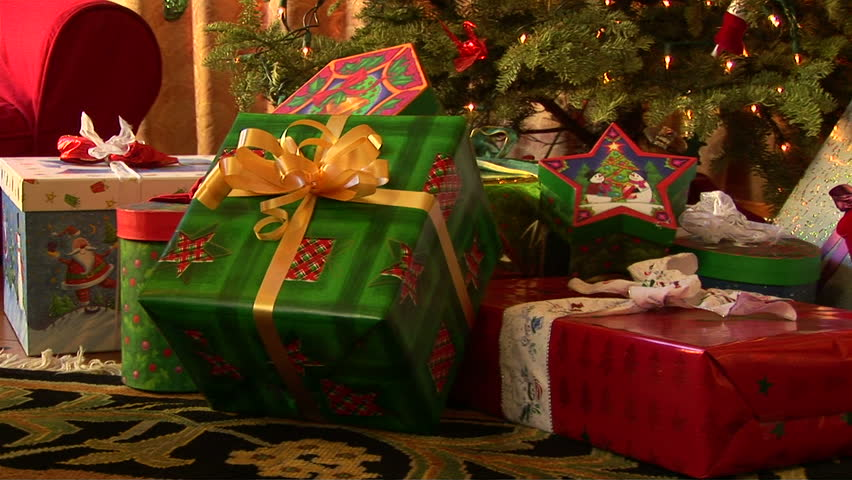 Close up of decorated Christmas tree with wrapped presents