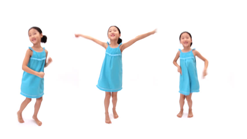 Collage of a little girl dancing