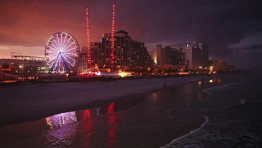 Daytona Beach Florida Beachfront Skyline At Night Stock Footage Video 8711173