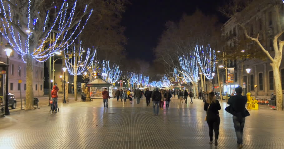 Exterior: JULY 18, 2014: La Rambla In Evening