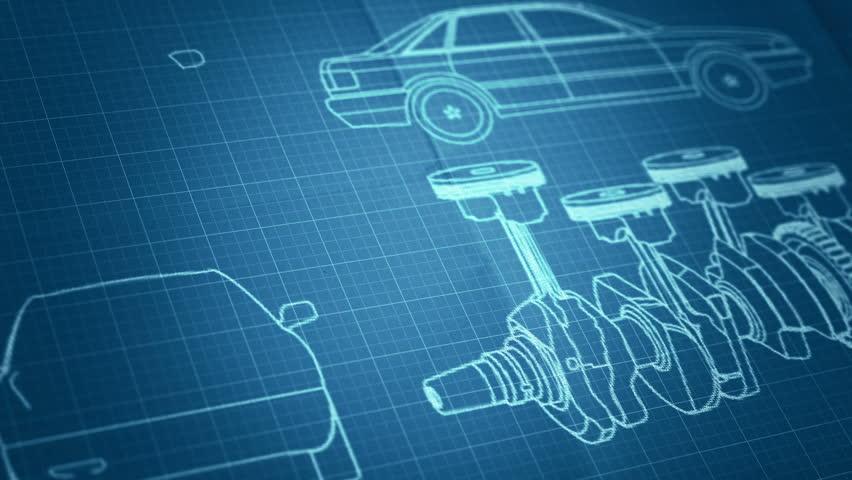 Cars Engine Plan Background  Blueprint Stock Footage Video