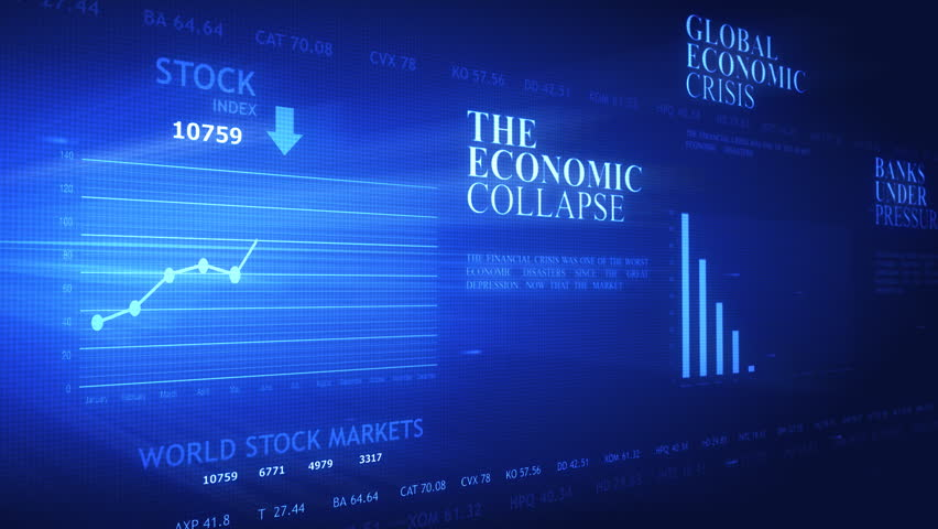 World business crisis headlines and charts on futuristic screen in loop