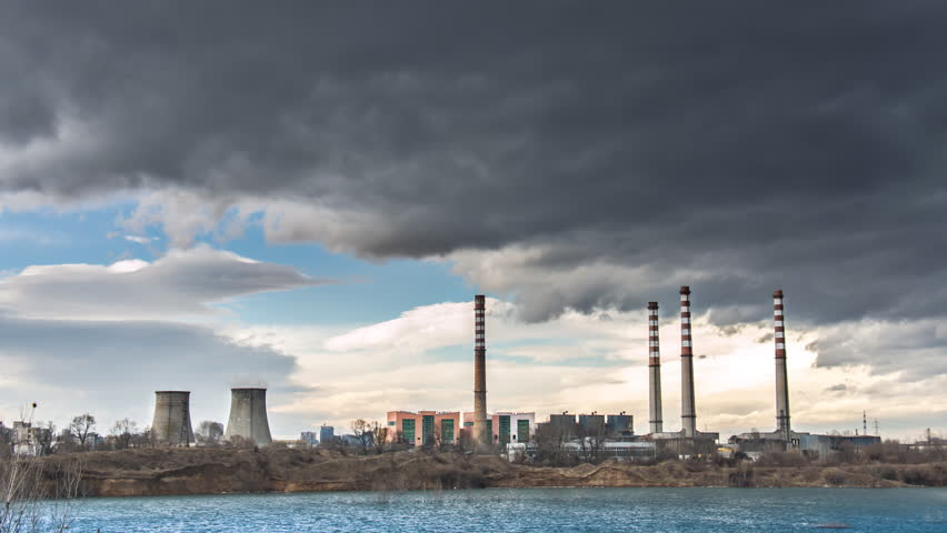 Pollution Smoke From An Industrial Chimney Thermal Power