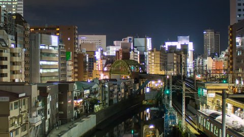 Timelapse taken looking at Akihabara in Tokyo Japan at night. Akihabara is center for anime, electronics, computer components, video games. 1080p zoom out version. 4k also avail