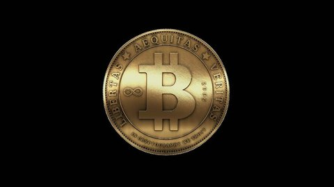 Rotation of gold bitcoin coin,Virtual Currency. cg_00239