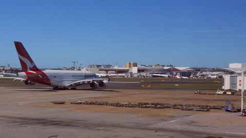 SYDNEY, AUSTRALIA -CIRCA January 2015: a qantas airbus A380 taxiing for takeoff in sydney, australia
