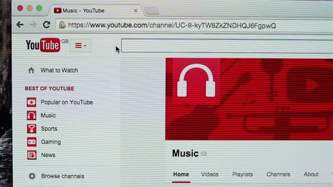 Galati, Romania, February 05, 2015: Searching new music on YouTube. YouTube is the world's most popular video sharing website.