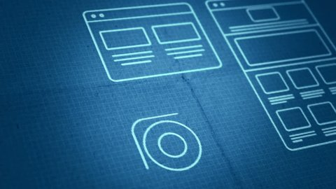 Stylized Interface design process blueprint animation concept. Technology drawing animation. Different colors in my profile.