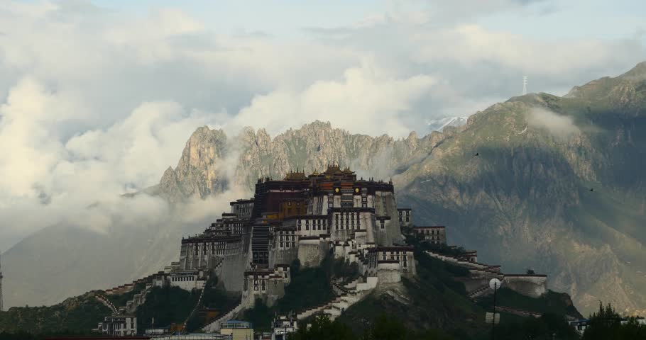 4k Potala Palace in the morning,mountains surrounded by clouds. gh2_08670_4k
