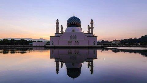 Likas Mosque(Masjid Bandaraya Likas), Kota Kinabalu, Sabah, Malaysia. Beautiful Sunrise And Reflection, Time Lapse Zoom Out