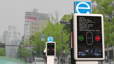 4K Electric Vehicle Charging Station in Work Photorealistic 3D Animation
