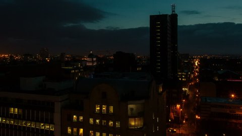 Belfast City dawn time lapse zoom out 4K