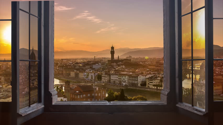 florence skyline seen from an の動画素材 完全ロイヤリティフリー