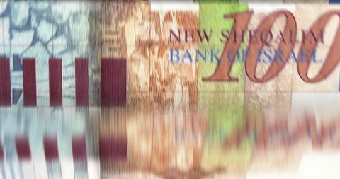 [loopable] Banknotes counting machine. Enumerating Israeli new shekel bills. Infinite flow of money. Source: CGI rendering. Clip ID: ax469c