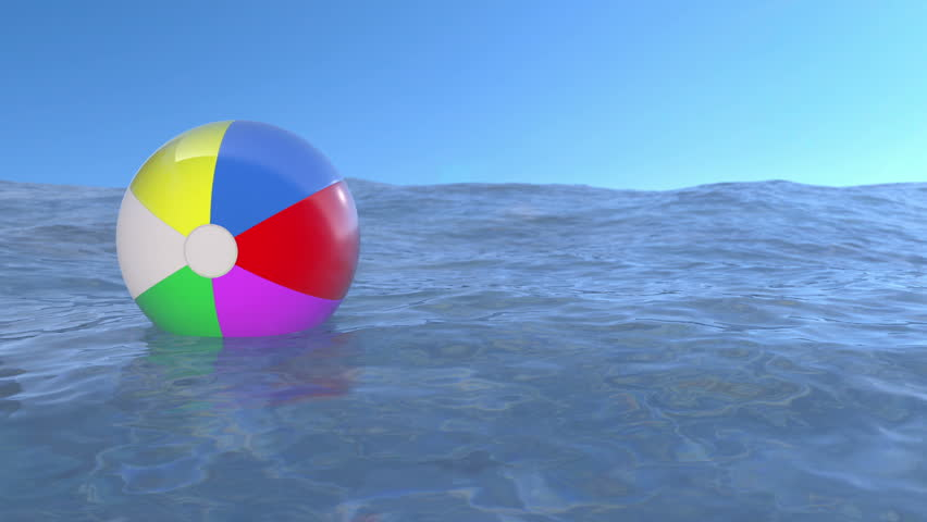 Beach Ball In Water beach ball floating on the water. loop ready animation. stock