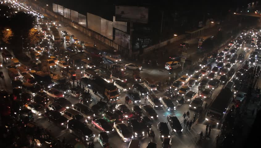 Traffic jam in the city of Dhaka, Bangladesh.