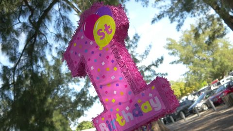 Baby girl's pink piñata hanging from tree at 1st birthday party, 4K