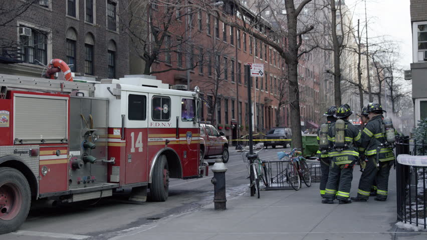 new york feb 15 2015 firefighters and firetruck panning to police officers - Large Canopy 2015