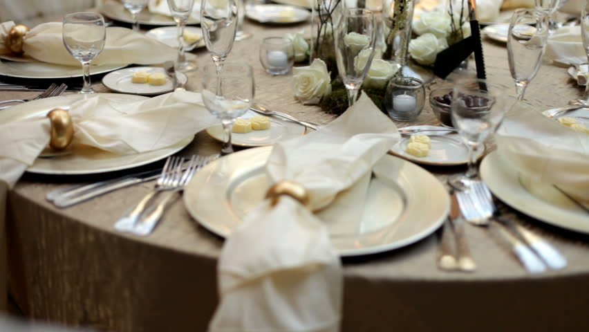 Pan of Prepared Wedding Dinner Table 24p