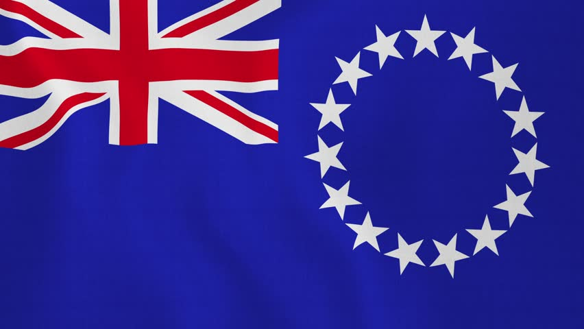[loopable] Flag of Cook Islands. Cook Island official flag gently waving in the wind. Highly detailed fabric texture for 4K resolution. 15 seconds loop. Source: CGI rendering. Clip ID: ax624c