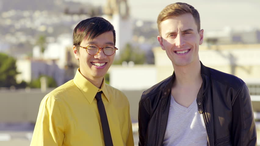 White asian gay couple