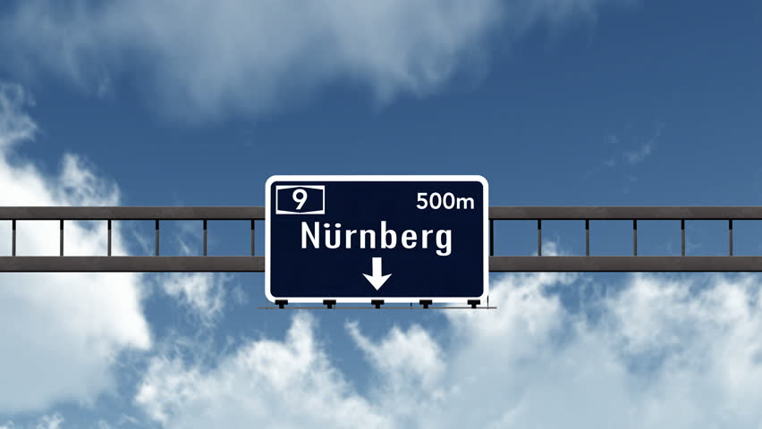 3d Animation Nürnberg 4k passing dublin united kingdom highway sign with