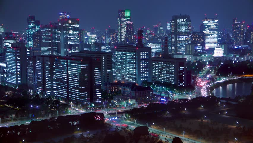 4K Movie - Night scenery to look for Imperial Palace, Tokyo, Japan. | Shutterstock HD Video #8991373