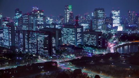 4K Movie - Night scenery to look for Imperial Palace, Tokyo, Japan.