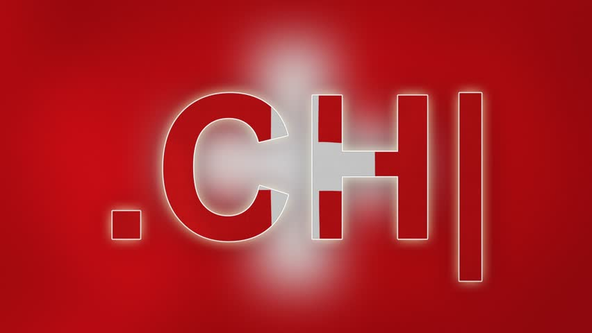 """CH - internet domain of Switzerland. Typing top-level domain """".CH"""" against blurred waving national flag of Switzerland. Highly detailed fabric texture for 4K resolution. Clip ID: ax1042c"""