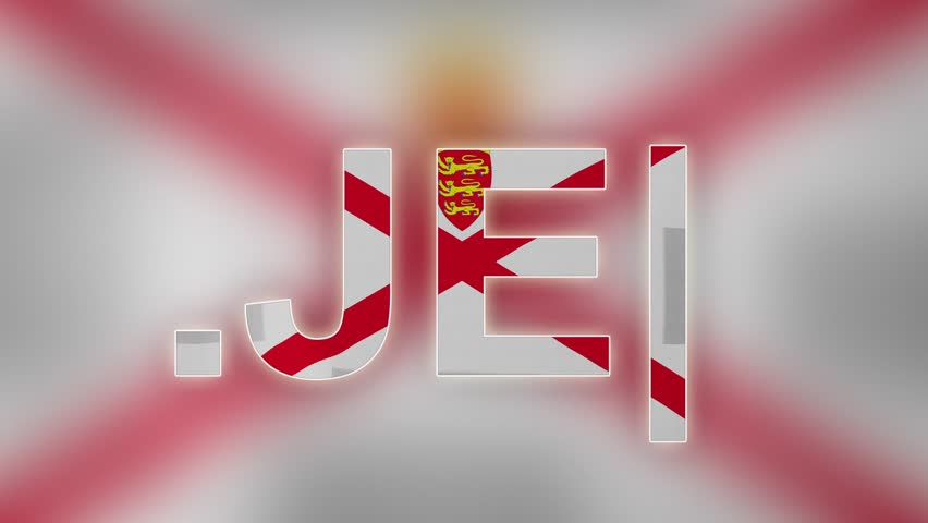 """JE - internet domain of Jersey. Typing top-level domain """".JE"""" against blurred waving national flag of Jersey. Highly detailed fabric texture for 4K resolution. Source: CGI rendering. Clip ID: ax1062c"""