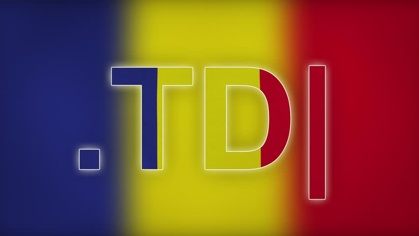 """TD - internet domain of Chad. Typing top-level domain """".TD"""" against blurred waving national flag of Chad. Highly detailed fabric texture for 4K resolution. Source: CGI rendering. Clip ID: ax865c"""