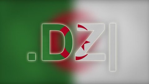 """DZ - internet domain of Algeria. Typing top-level domain """".DZ"""" against blurred waving national flag of Algeria. Highly detailed fabric texture for 4K resolution. Source: CGI rendering. Clip ID: ax827c"""