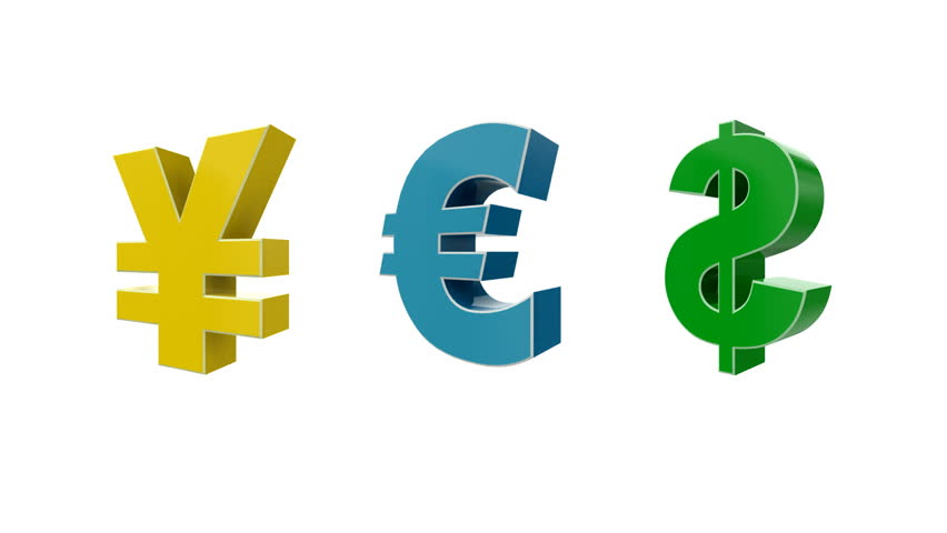 Currency Symbol Dollar Pound Euro Stock Footage Video 100 Royalty