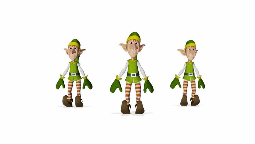 3 santa helper cartoon xmas dance
