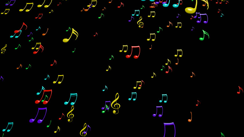 3d Colorful Music Notes Wallpaper: Animated Falling White Music Notes On Transparent