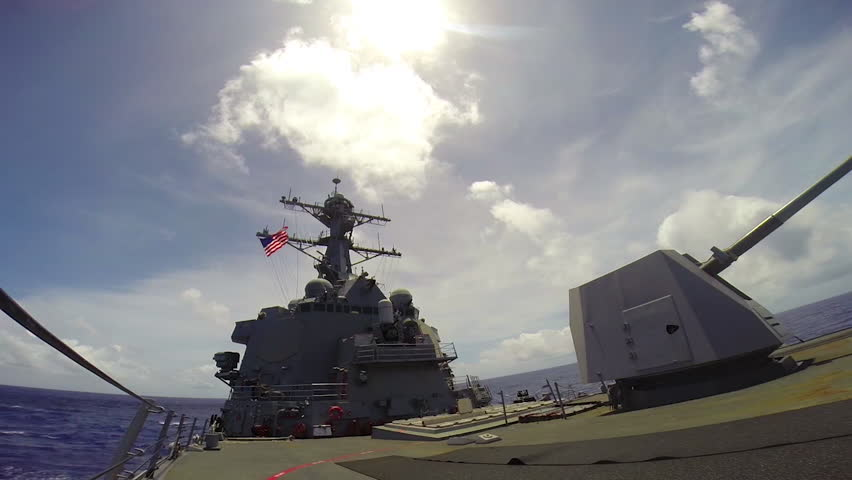 CIRCA 2010s - A Tomahawk missile is fired from a warship in battle.