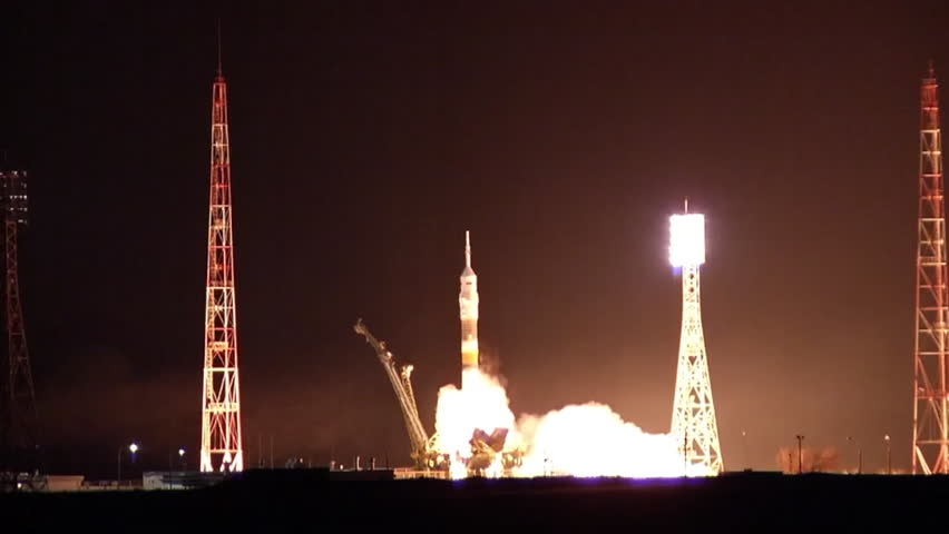 CIRCA 2010s - A Soyuz rocket launches from a launchpad. | Shutterstock HD Video #9139463