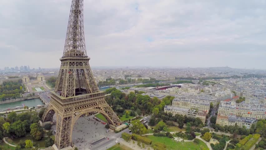 Eiffel Tower against cityscape at autumn cloudy day. Aerial view | Shutterstock HD Video #9147773