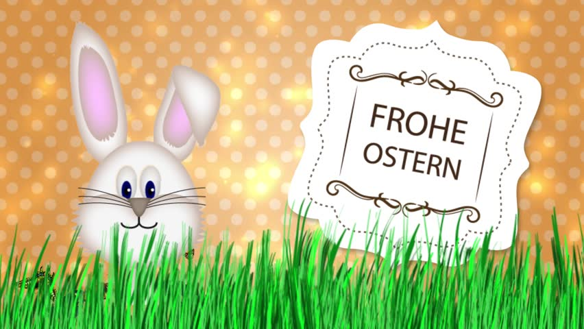Happy Easter - Easter Bunny Video Animation German Frohe Ostern - HD stock video clip